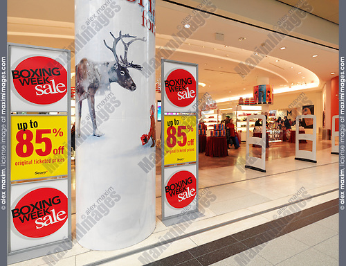 Boxing week sale signs at Sears store Toronto, Ontario, Canada.