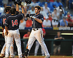 Ole Miss' Matt Crouse (20) gives up a three run home run to Auburn's Hunter Morris (15) in the 7th inning during the Southeastern Conference tournament at Regions Park in Hoover, Ala. on Friday, May 28, 2010.