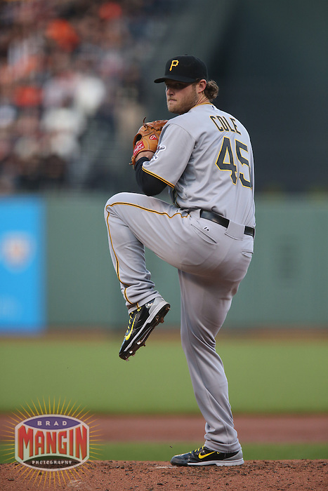 SAN FRANCISCO, CA - JUNE 1:  Gerrit Cole of the Pittsburgh Pirates pitches against the San Francisco Giants during the game at AT&T Park on Monday, June 1, 2015 in San Francisco, California. (Photo by Brad Mangin)