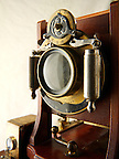 Century Half Plate wooden View Camera close up of lens and shutter