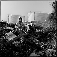 Luanda, Angola, May 19, 2006.A homeless looks for food in the garbage near the Sonangol oil refinery. More than 70% of Luanda's 5 million inhabitants live below the poverty threshold in slum areas. With vast natural ressources (oil, diamonds, gold, water...) Angola is potentially one of the richest countries in Africa.  Between February and June 2006, more than 30000 people were infected with cholera in Angola's worse outbreak ever; more than 1300 died.