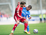 St Johnstone v Aberdeen...23.08.14  SPFL<br /> David Goodwillie and Chris Millar<br /> Picture by Graeme Hart.<br /> Copyright Perthshire Picture Agency<br /> Tel: 01738 623350  Mobile: 07990 594431