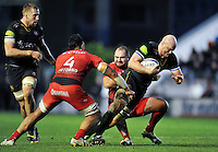 Matt Garvey of Bath Rugby takes on the Toulon defence. European Rugby Champions Cup match, between RC Toulon and Bath Rugby on January 10, 2016 at the Stade Mayol in Toulon, France. Photo by: Patrick Khachfe / Onside Images