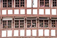 Half-timbered antique shop in Nedergade in Odense on Funen Island, Denmark