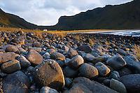 Rocky shoreline at Unstad Beach, Vestvagoy, Lofoten islands, Norway