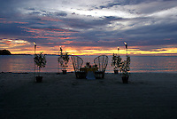 A romantic dinner for two on the beach in Micronesia, Pacific, Palau
