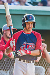 29 June 2014:  Lowell Spinners infielder Mauricio Dubon on deck against the Vermont Lake Monsters at Centennial Field in Burlington, Vermont. The Spinners defeated the Lake Monsters 7-5 in NY Penn League action. Mandatory Credit: Ed Wolfstein Photo *** RAW Image File Available ****