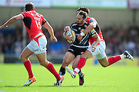 Phil Dollman of Exeter Chiefs takes on the Saracens defence. Aviva Premiership match, between Exeter Chiefs and Saracens on September 11, 2016 at Sandy Park in Exeter, England. Photo by: Patrick Khachfe / JMP