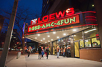 The AMC Loews Lincoln Square cinema in the Upper West Side neighborhood of New York is seen on Thursday, December 29, 2011. Revenue for movie theaters declined in 2011 compared to 2010. A lackluster season and a shift to digital home distribution are cited as reasons.  (© Richard B. Levine)