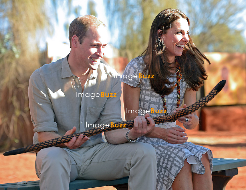 KATE, DUCHESS OF CAMBRIDGE AND PRINCE WILLIAM<br /> visit the Uluru-Kata Tjuta Cultural Centre, where they vieweda &quot;Welcome to Country&quot; display followed by an indigenious art display.<br /> Uluru, Australia, 23.04.14