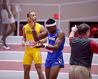 NWA Democrat-Gazette/BEN GOFF @NWABENGOFF<br /> Grant Holloway of Florida celebrates his victory in the 60 meter hurdles final Friday, Feb. 10, 2017 during the Tyson Invitational at the Randal Tyson Track Complex in Fayetteville.
