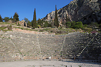 DELPHI, GREECE - APRIL 11 : A detail of the rows of seats of the theatre from the orchestra, on April 11, 2007 in Delphi, Greece. The theatre was built of local Parnassos limestone in the 3rd century BC. The auditorium consists of 35 rows of seats and could accomodate some 5'000 spectators. (Photo by Manuel Cohen)