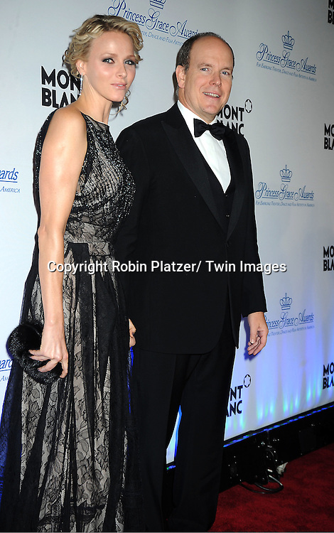 Prince Albert 2 and wife Princess Charlene of Monaco attend The Princess Grace Foundation Awards Gala on .November 1, 2011 at Cipriani 42nd Street in New York City.