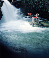 contemporary style Thonet Chairs in stream waterfall water fall rocks