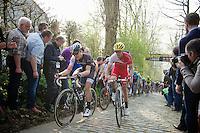 Jasper Stuyven (BEL/Trek Factory Racing) &amp; Romain Zingle (BEL/Cofidis) side by side up the Taaienberg<br /> <br /> 57th E3 Harelbeke 2014
