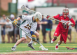 18 April 2015:  University of Vermont Catamount Long Stick Midfielder Graham Bocklet, a Freshman from Waccabuc, NY, gets a loose ball during play against the University of Hartford Hawks at Virtue Field in Burlington, Vermont. The Cats defeated the Hawks 14-11 in the final home game of the 2015 season. Mandatory Credit: Ed Wolfstein Photo *** RAW (NEF) Image File Available ***