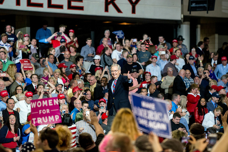 UNITED STATES - MARCH 20: Senate Minority Leader Mitch McConnell, R-Ky., gives a thumbs up during President Donald Trump's rally  at Freedom Hall in Louisville, Ky. on Monday, March 20, 2017. (Photo By George LeVines/CQ Roll Call)