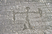 Petroglyph, rock carving, of schematic human figure with a sheilf and weapon. Carved by the ancient Camuni people in the Late Gopper Age between 2400 - 2200 BC. Rock 21,  Foppi di Nadro, Riserva Naturale Incisioni Rupestri di Ceto, Cimbergo e Paspardo, Capo di Ponti, Valcamonica (Val Camonica), Lombardy plain, Italy