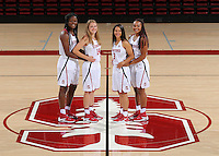 STANFORD, CA - September, 20, 2016: The 2016-2017 Stanford Women's Basketball Team. Nadia Fingall, Mikaela Brewer, Anna Wilson, Dijonai Carrington