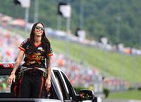 Jun 21, 2015; Bristol, TN, USA; NHRA funny car driver Alexis DeJoria during the Thunder Valley Nationals at Bristol Dragway. Mandatory Credit: Mark J. Rebilas-