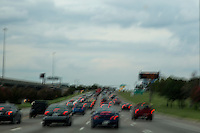 I-35 traffic during 5 pm rush hour in Austin, Texas.