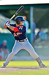 30 June 2012: Lowell Spinners infielder Mike Miller in action against the Vermont Lake Monsters at Centennial Field in Burlington, Vermont. Mandatory Credit: Ed Wolfstein Photo