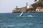 Windsurfer jumping at Port Soller at Majorca, Spain