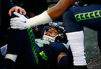 Jimmy Graham #88 of the Seattle Seahawks lays in the end zone following an incomplete pass that injured his knee in the second half against the Pittsburgh Steelers during the game at CenturyLink Field on November 29, 2015 in Seattle, Washington. (Photo by Jared Wickerham/DKPittsburghSports)