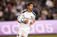 LA Galaxy forward Juan Pablo Angel (9) moves to the ball. The LA Galaxy and Red Bulls of New York played to a 1-1 tie at Home Depot Center stadium in Carson, California on  May 7, 2011....
