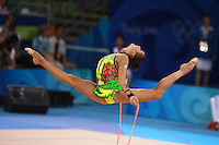 August 23, 2008; Beijing, China; Rhythmic gymnast Aliya Garaeva of Azerbaijan split leaps with rope on way to placing 6th in the Individual All-Around final at 2008 Beijing Olympics..(©) Copyright 2008 Tom Theobald