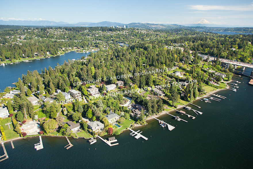 aerial photo of Medina's Evergreen Point, surrounded by Lake Washington