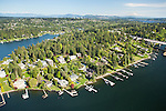 aerial photo of Medina's Evergreen Point, surrounded by Lake Washington
