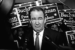 Patrick Buchanan campaigning for the 1996 Republican presidential nomination in New Hampshire. Buchanan won the New Hampshire primary but lost the nomination to Bob Dole.