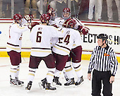 Teddy Doherty (BC - 4), Patrick Wey (BC - 6), [bc90[, Kevin Hayes (BC - 12), Bill Arnold (BC - 24) - The Boston College Eagles defeated the visiting Boston University Terriers 5-2 on Saturday, December 1, 2012, at Kelley Rink in Conte Forum in Chestnut Hill, Massachusetts.