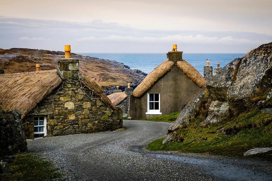 LEWIS AND HARRIS, SCOTLAND - CIRCA APRIL 2016: Blackhouses in the Island of Lewis, Scotland..