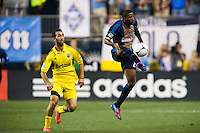 Raymon Gaddis (28) of the Philadelphia Union. The Columbus Crew defeated the Philadelphia Union 2-1 during a Major League Soccer (MLS) match at PPL Park in Chester, PA, on August 29, 2012.