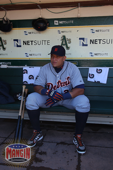 OAKLAND, CA - SEPTEMBER 17:  Miguel Cabrera #24 of the Detroit Tigers gets ready in the dugout before the game against the Oakland Athletics at O.co Coliseum on September 17, 2011 in Oakland, California. Photo by Brad Mangin