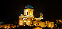 Exterior of the Neo Classical Esztergom Basilica at night , Cathedral ( Esztergomi Bazilika ), Hungary.