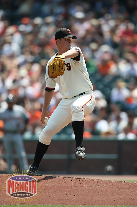 SAN FRANCISCO - JULY 24:  Matt Cain of the San Francisco Giants pitches during the game against the Washington Nationals at AT&T Park in San Francisco, California on July 24, 2008.  The Giants defeated the Nationals 1-0.  Photo by Brad Mangin