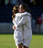 US forward Abby Wambach (17) shares a hug with a teammate after the US victory.  The U.S. Women's National Team defeated Italy 1-0 at Toyota Park in Bridgeview, IL on November 27, 2010 to advance to the Women's World Cup in Germany.