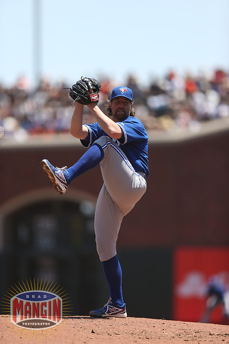 SAN FRANCISCO, CA - JUNE 5:  R.A. Dickey #43 of the Toronto Blue Jays pitches against the San Francisco Giants during the game at AT&T Park on Wednesday, June 5, 2013 in San Francisco, California. Photo by Brad Mangin