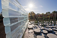 """""""The Grow Melt Project"""" at The Late Show Gardens, ice melting into cactus garden pool"""