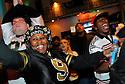New Orleans Saints fan Sandra Scott celebrates on Bourbon Street after the win of the NFC Championship game against the Minnesota Vikings,  New Orleans, Sunday, Jan. 24, 2010..(AP Photo/Cheryl Gerber)