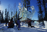 Ice sculptor at the World Ice Championships in Fairbanks, Alaska