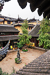 Chen Xiang Buddhist monastery courtyard in the old town of Shanghai, China