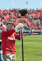 "30 March 2013:The Toronto FC's Harris Hawk ""Bitchy"" is introduced during an MLS game between the LA Galaxy and Toronto FC at BMO Field in Toronto, Ontario Canada..The game ended in a 2-2 draw.."