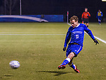 UK defender Jacob Kemper centers the ball into Xavier's penalty area during the first half of the game Thursday evening.