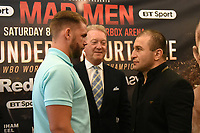 Billy Joe Saunders (L), Frank Warren and Avtandil Khurtsidze during a Press Conference at the Grosvenor House Hotel on 15th May 2017
