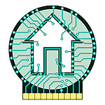 Connected home symbol conceptual illustration. Circuit board with house symbol isolated on white background. Vector illustration is available on request.