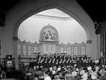 Pittsburgh PA:  View of the First English Evangelical Lutheran Church choir singing at Sunday Services 1958.